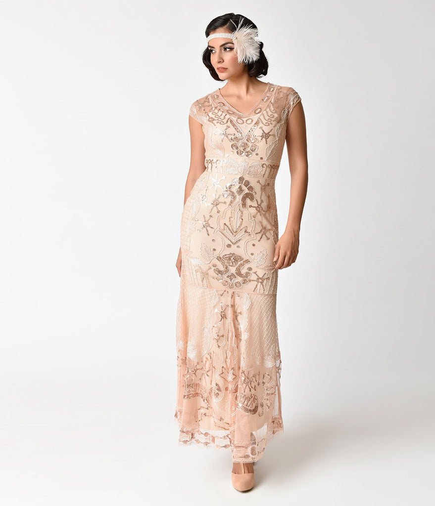 1920s Rose Gold Sequin Beaded Deco Flapper Long Mermaid Dress