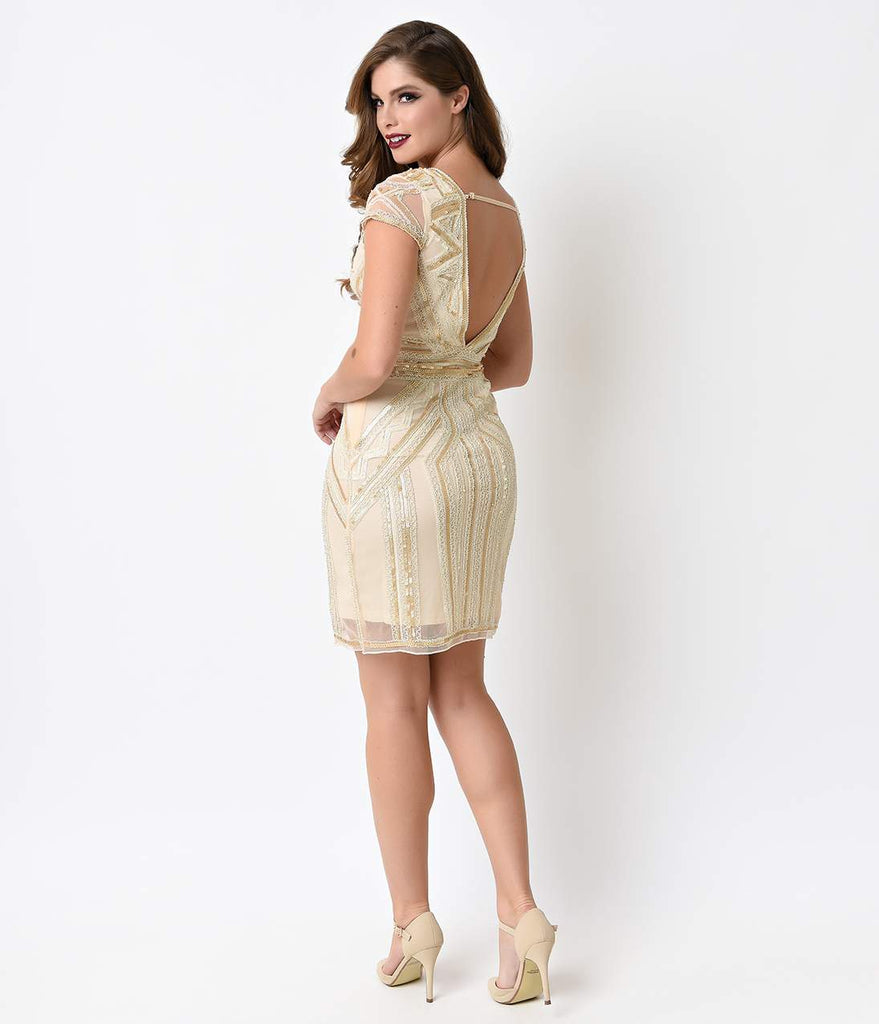 1920s Style Beige Beaded Tulle Deco Mini Dress