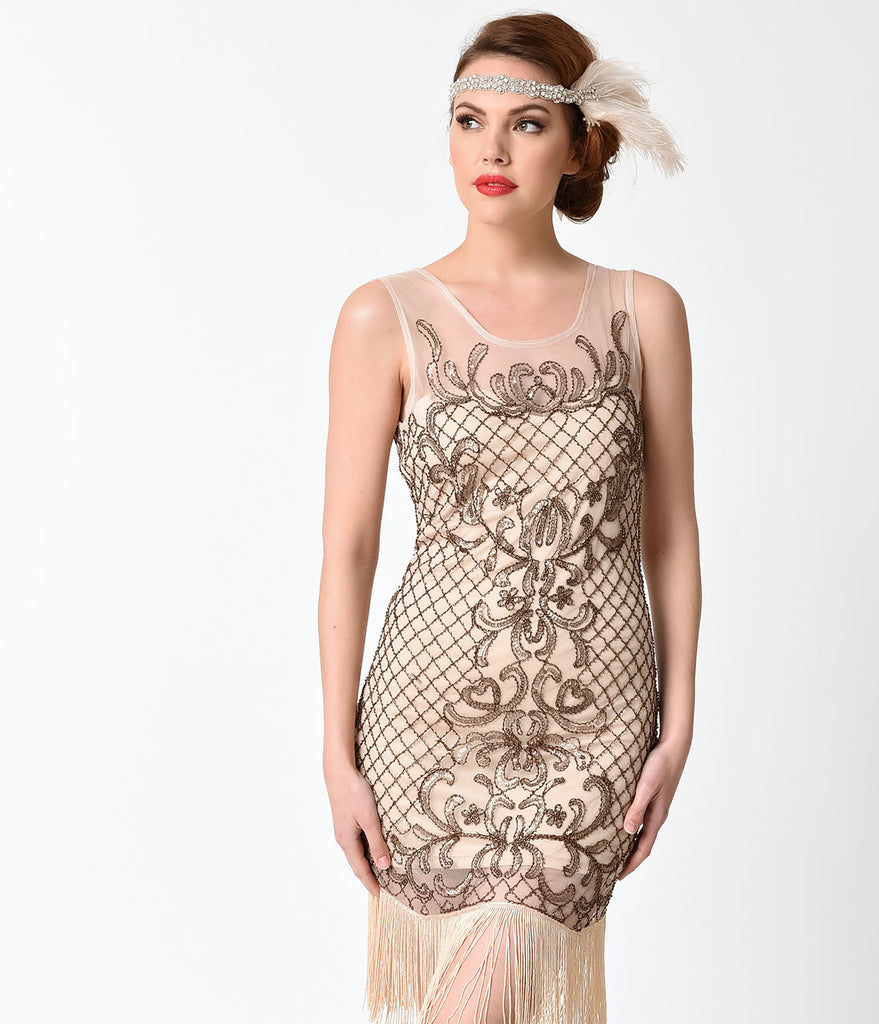 1920s Style Beige Filigree Sleeveless Beaded Flapper