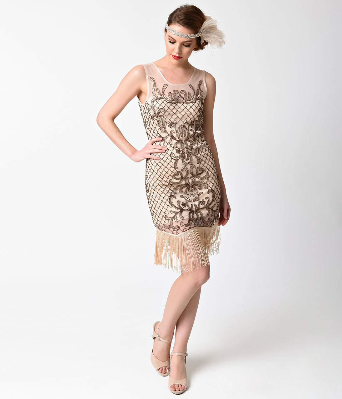 Roaring 20s Costumes- Flapper Costumes, Gangster Costumes 1920s Style Beige Filigree Sleeveless Beaded Flapper Dress $48.00 AT vintagedancer.com