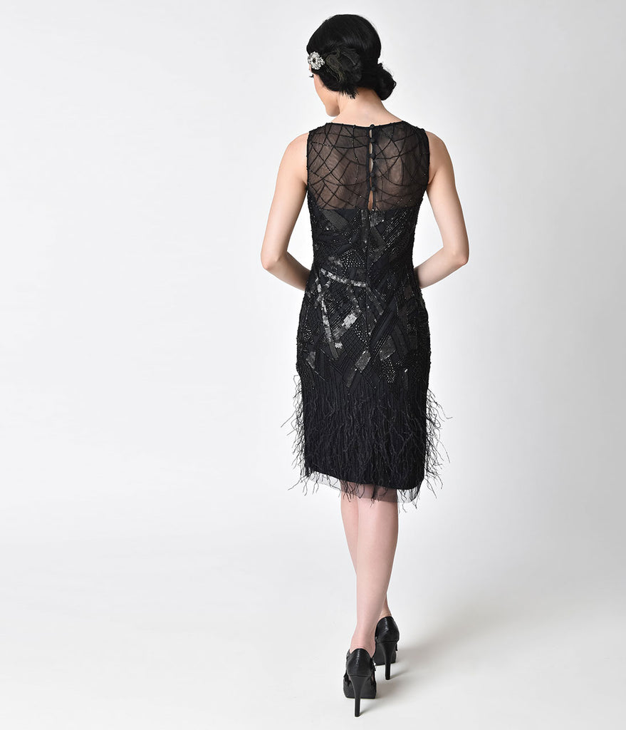 1920s Style Black Beaded Deco Feather Fringe Marilyn Flapper Dress