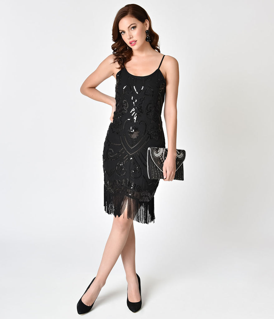 b388dd365b8 Black Sequin Sleeveless Fringe Short Cocktail Dress – Unique Vintage