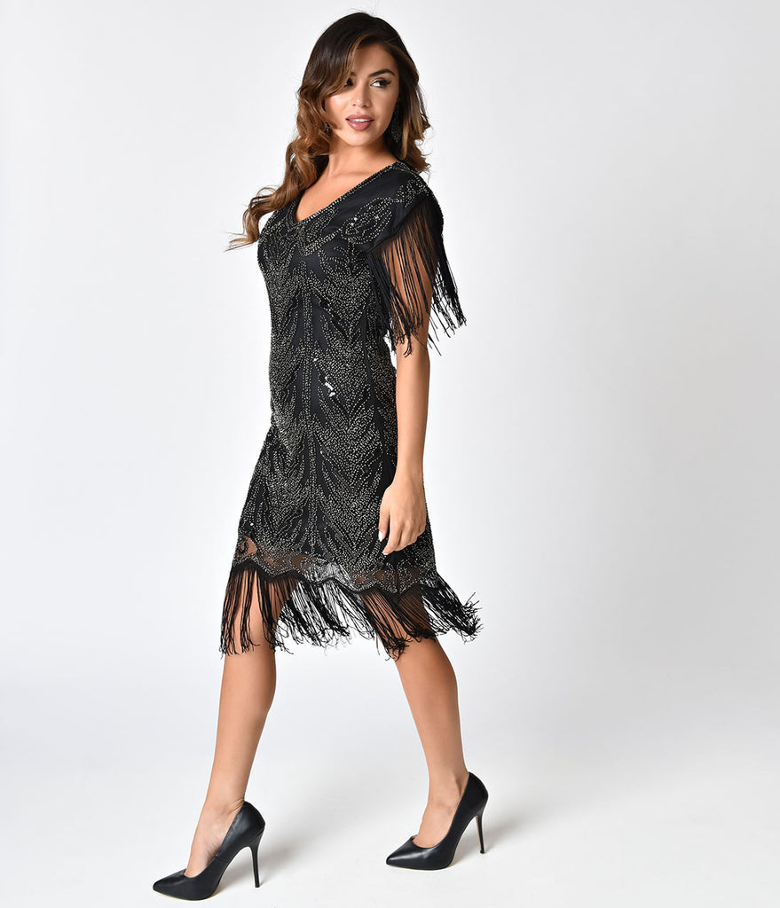1920s Style Black Beaded Fringe Cap Sleeve Cocktail Dress