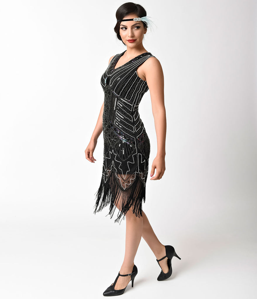1920s Style Black Beaded Mesh Fringe Flapper