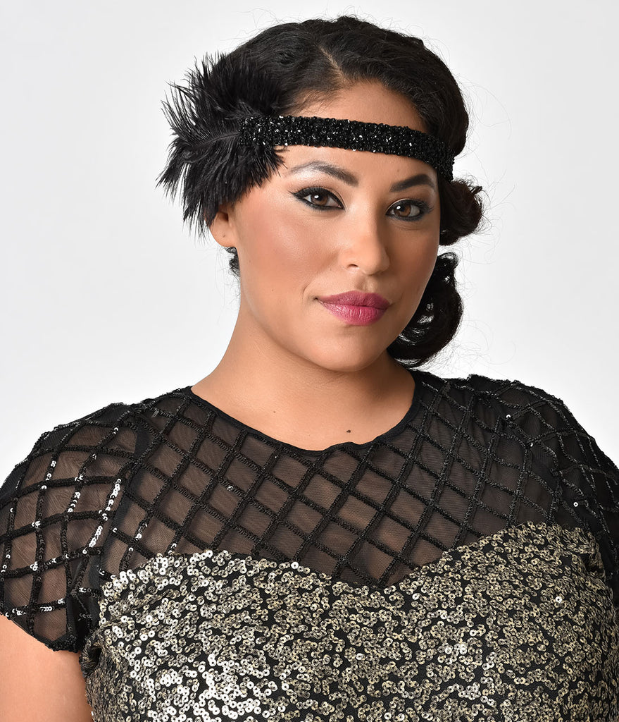 1920s Style Black Beaded Feather Roxi Headband
