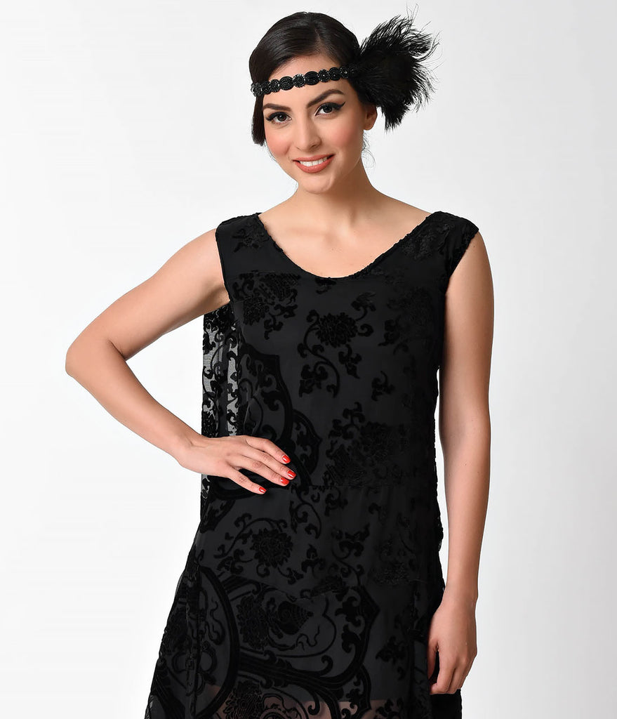 1920s Style Black Burnout Velvet Flapper Dress