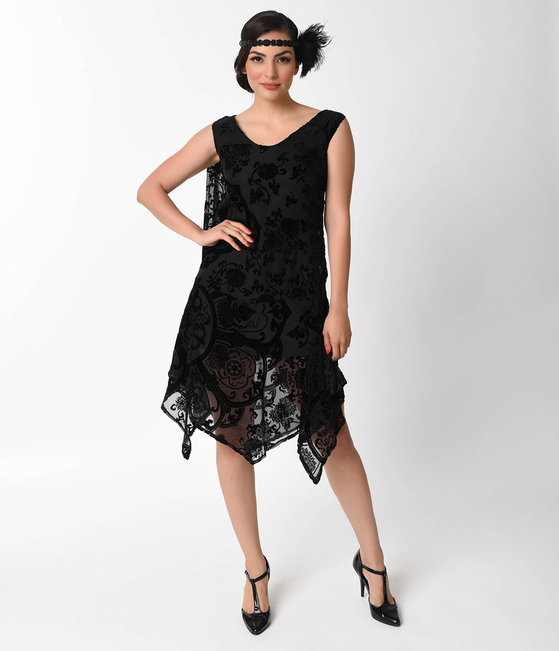 Roaring 20s Costumes- Flapper Costumes, Gangster Costumes 1920S Style Black Burnout Velvet Flapper Dress $77.00 AT vintagedancer.com