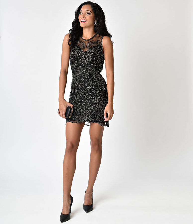 Black Cut Out Illusion Back Beaded Short Flapper-Style Cocktail Dress