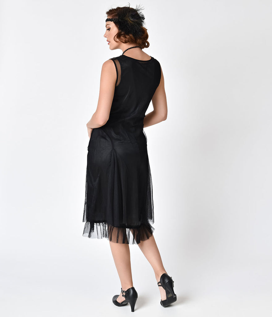 1920s Style Black Embroidered Tara Flapper Dress