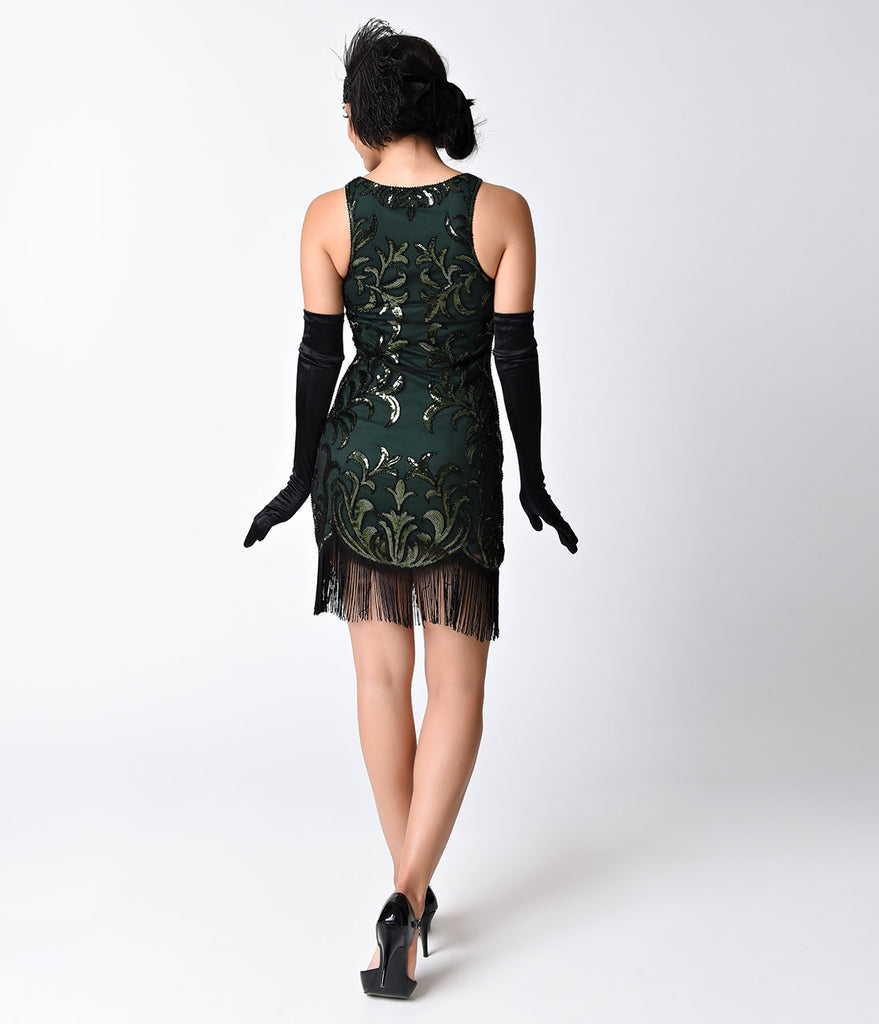 1920s Style Black & Emerald Deco Beaded Fringe Flapper Dress