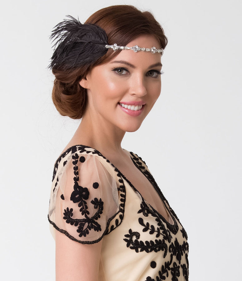 1920s Style Black Feather & Silver Crystal Headband
