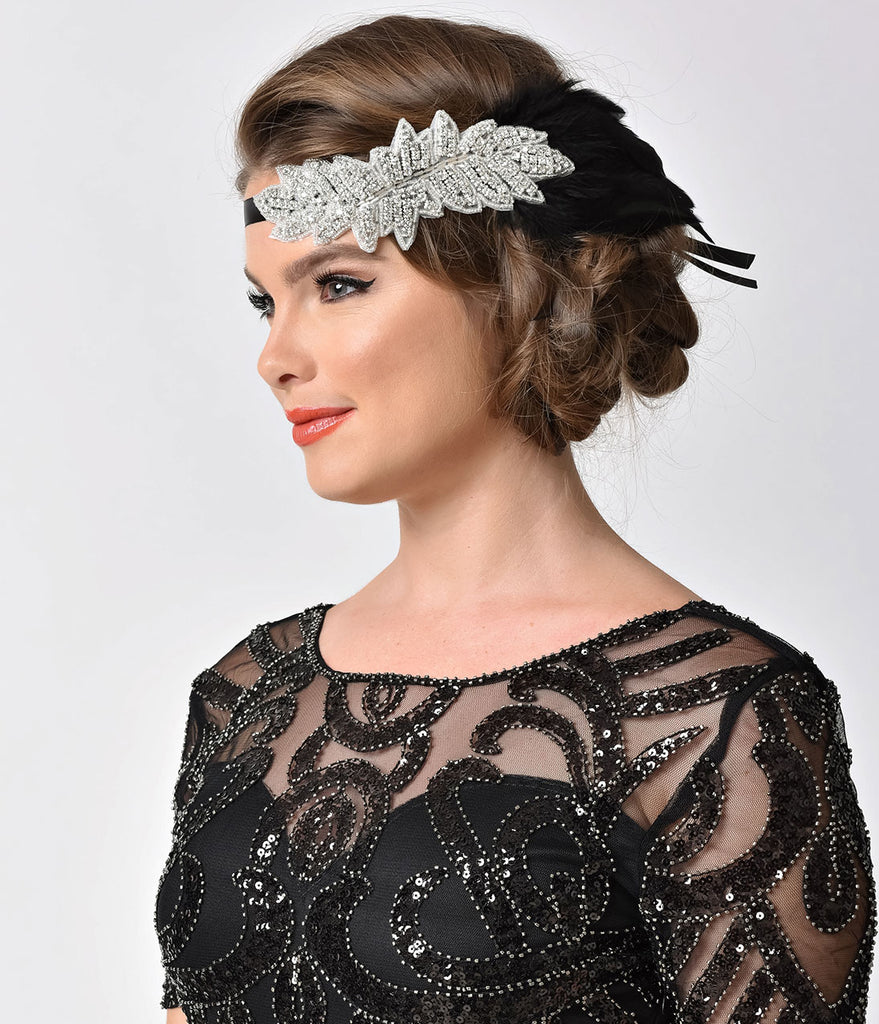 1920s Style Black Feather & Silver Rhinestone Ribbon Headband
