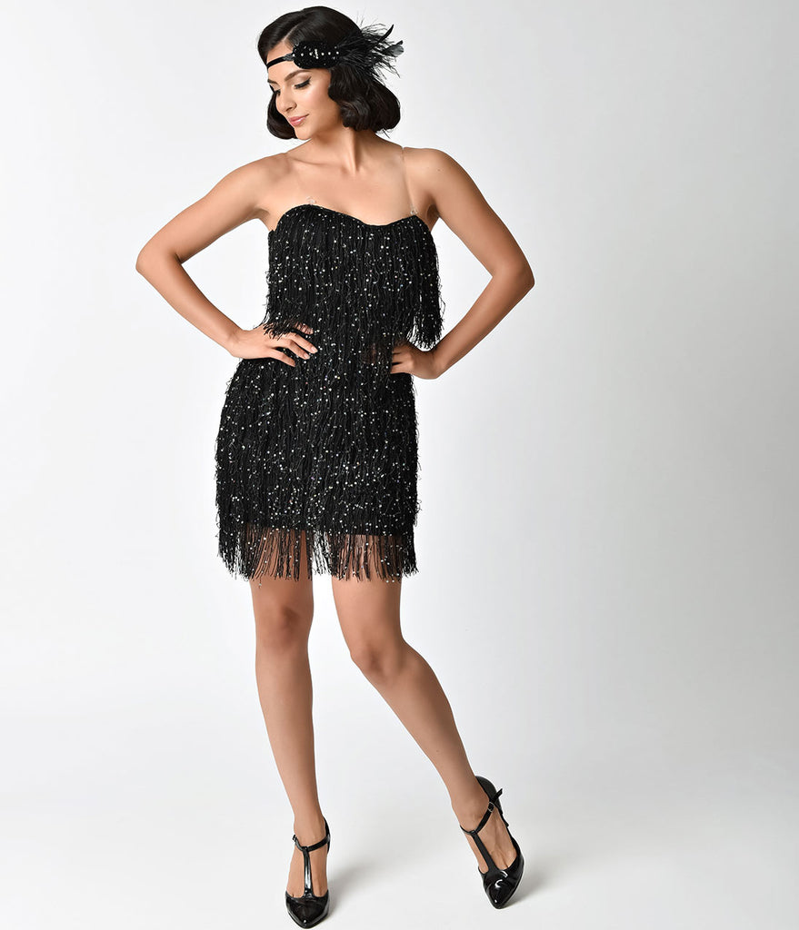 1920s Style Black & Iridescent Sequin & Fringe Flapper Dress