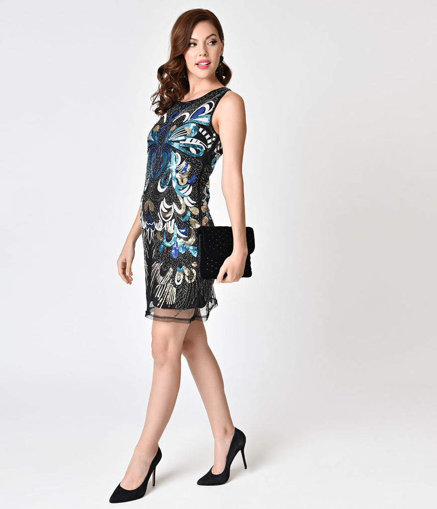 Black & Multi Color Sequin Mesh Short Flapper-Style Cocktail Dress