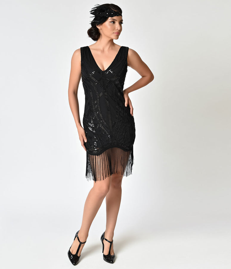 1920s Style Black Sequin & Fringe Flapper Dress