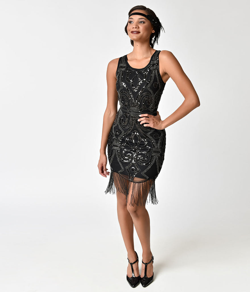 1920s Style Black Sequin & Gunmetal Beaded Fringe Cocktail Dress