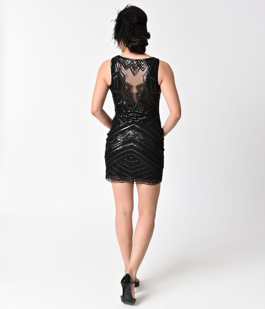 1920s Style Black Sequin Mesh Keyhole Short Flapper Dress