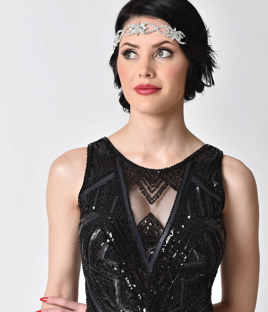 1920s Style Black Sequin Sleeveless Mesh Keyhole Fringe Flapper