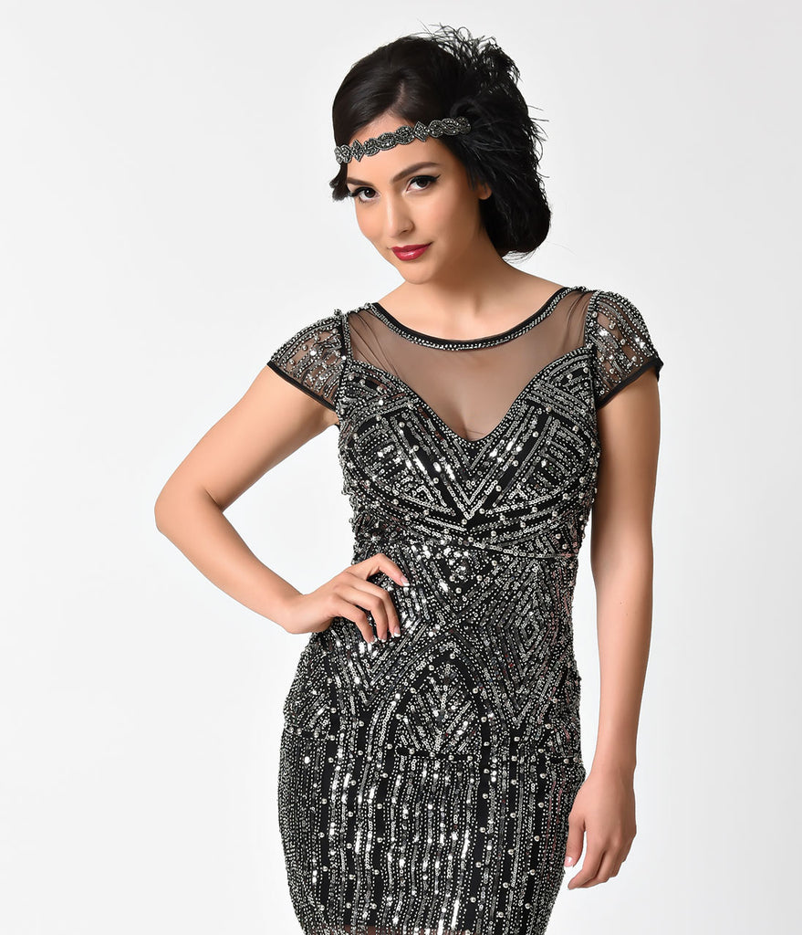 1920s Style Black & Silver Beaded Cap Sleeve Short Flapper Dress