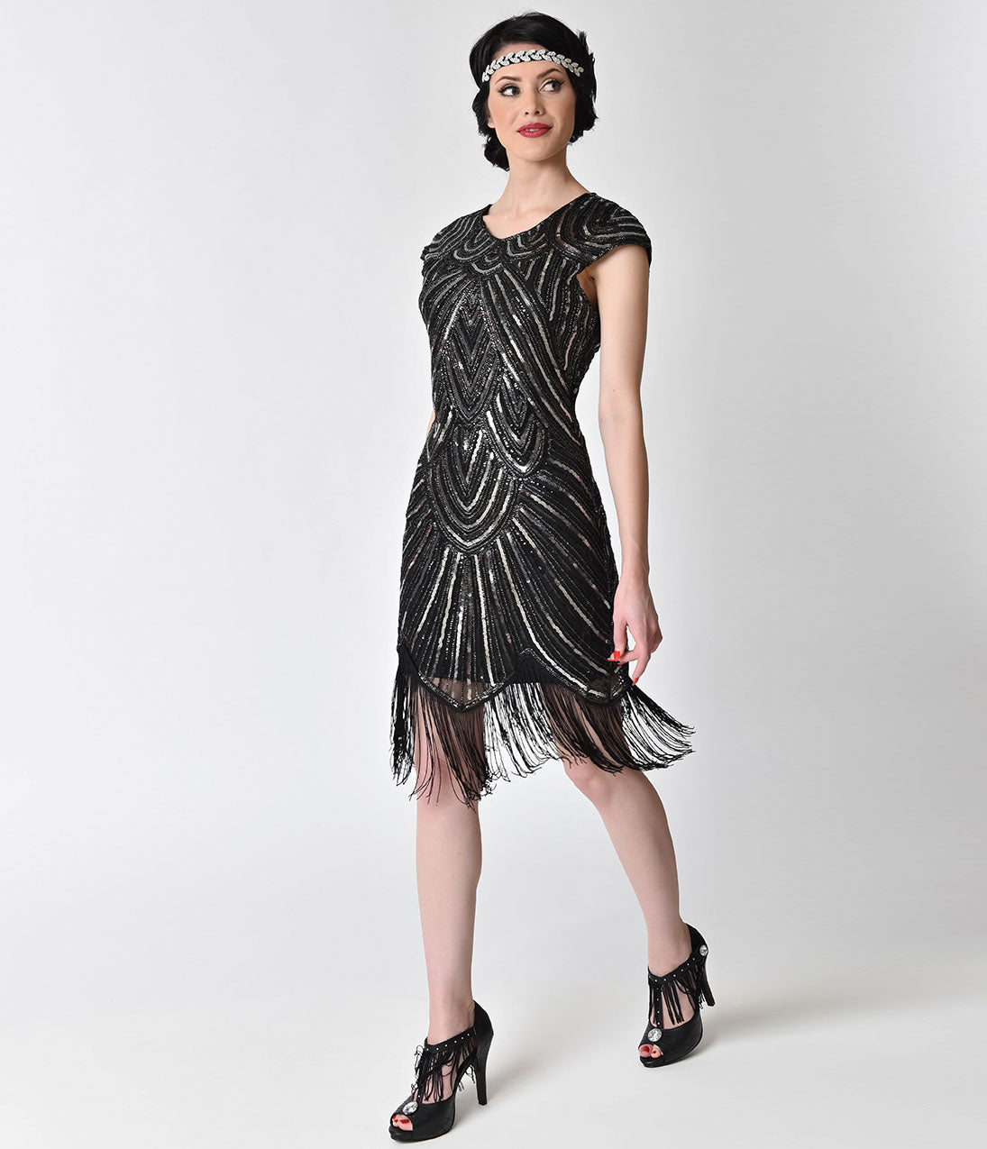 Roaring 20s Costumes- Flapper Costumes, Gangster Costumes 1920s Style Black  Silver Sequin Mesh Cap Sleeve Fringe Flapper Dress $88.00 AT vintagedancer.com