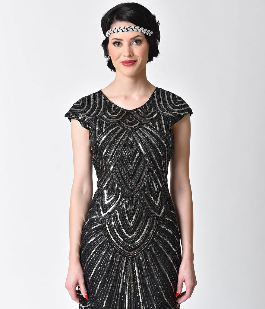 1920s Style Black & Silver Sequin Mesh Cap Sleeve Fringe Flapper Dress