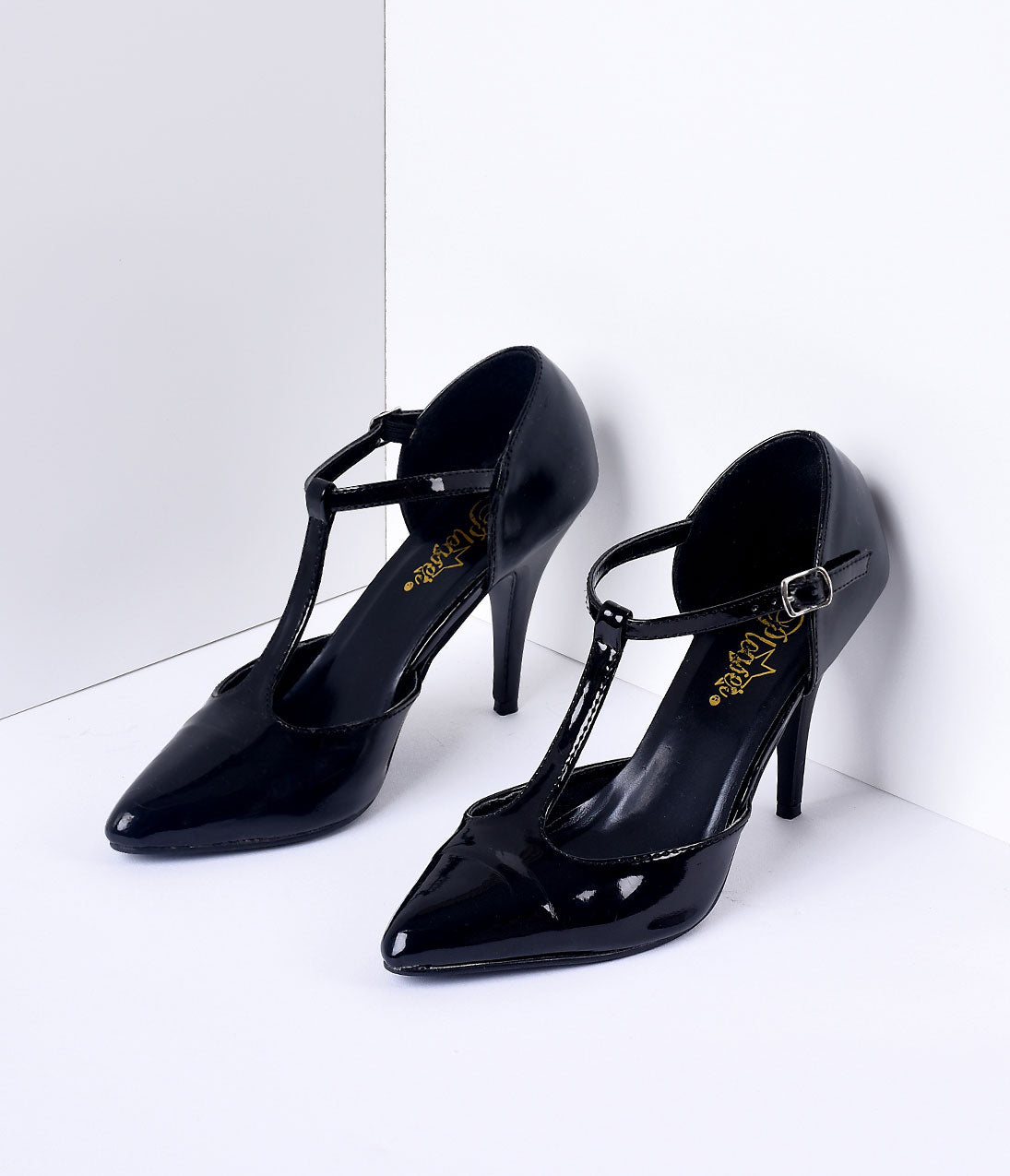 1950s Shoe Styles: Heels, Flats, Sandals, Saddles Shoes 1920S Style Black T-Strap Heels $68.00 AT vintagedancer.com