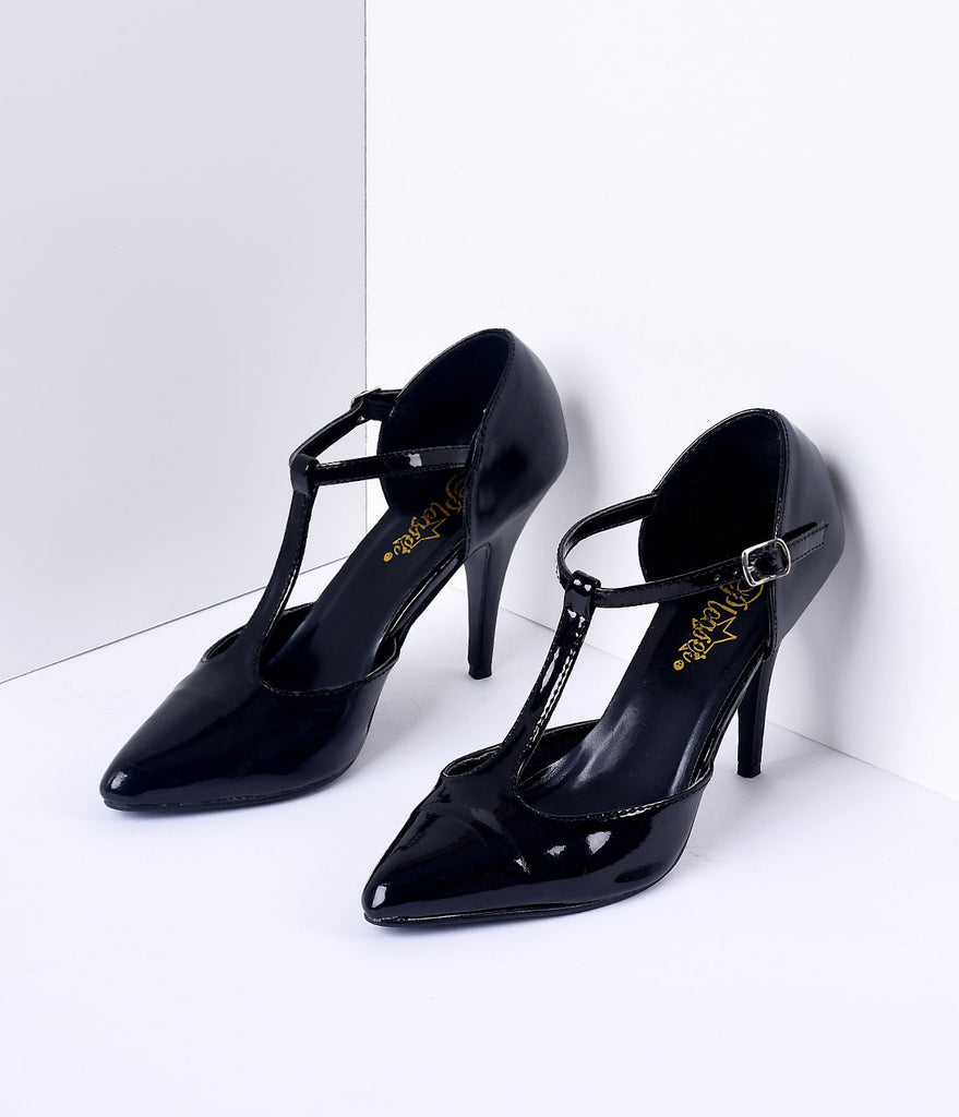 b90ae04cf007 1920s-Style Black Patent Leather T-Strap Heels – Unique Vintage