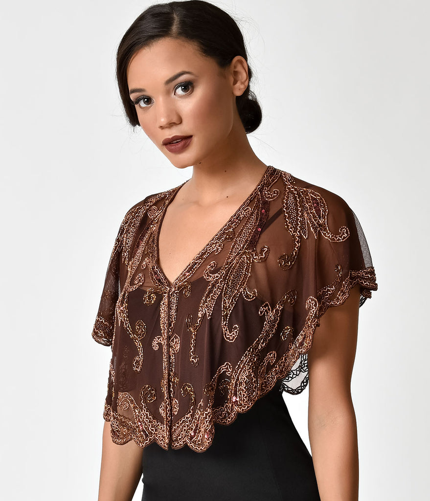 1920s Style Brown & Copper Beaded Sheer Mesh Capelet