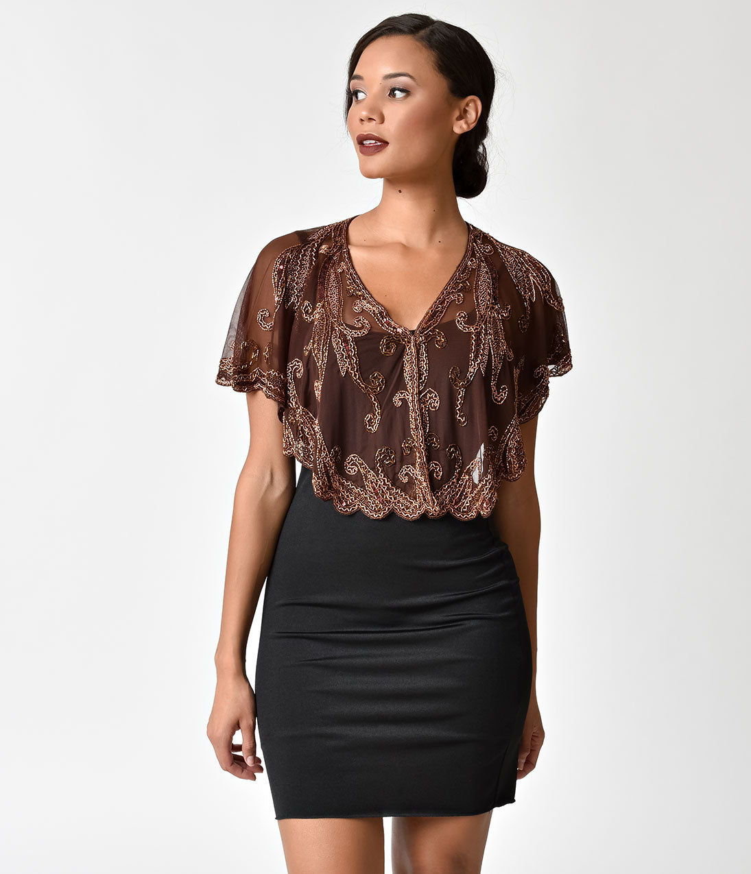 1920s Style Shawls, Wraps, Scarves 1920s Style Brown  Copper Beaded Sheer Mesh Capelet $46.00 AT vintagedancer.com