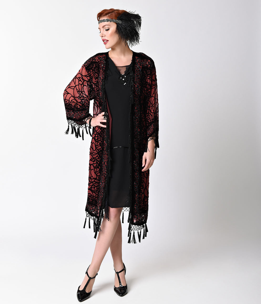 1920s Style Shawls, Wraps, Scarves 1920S Style Burgundy  Black Sheer Beaded Scarf Coat $165.00 AT vintagedancer.com