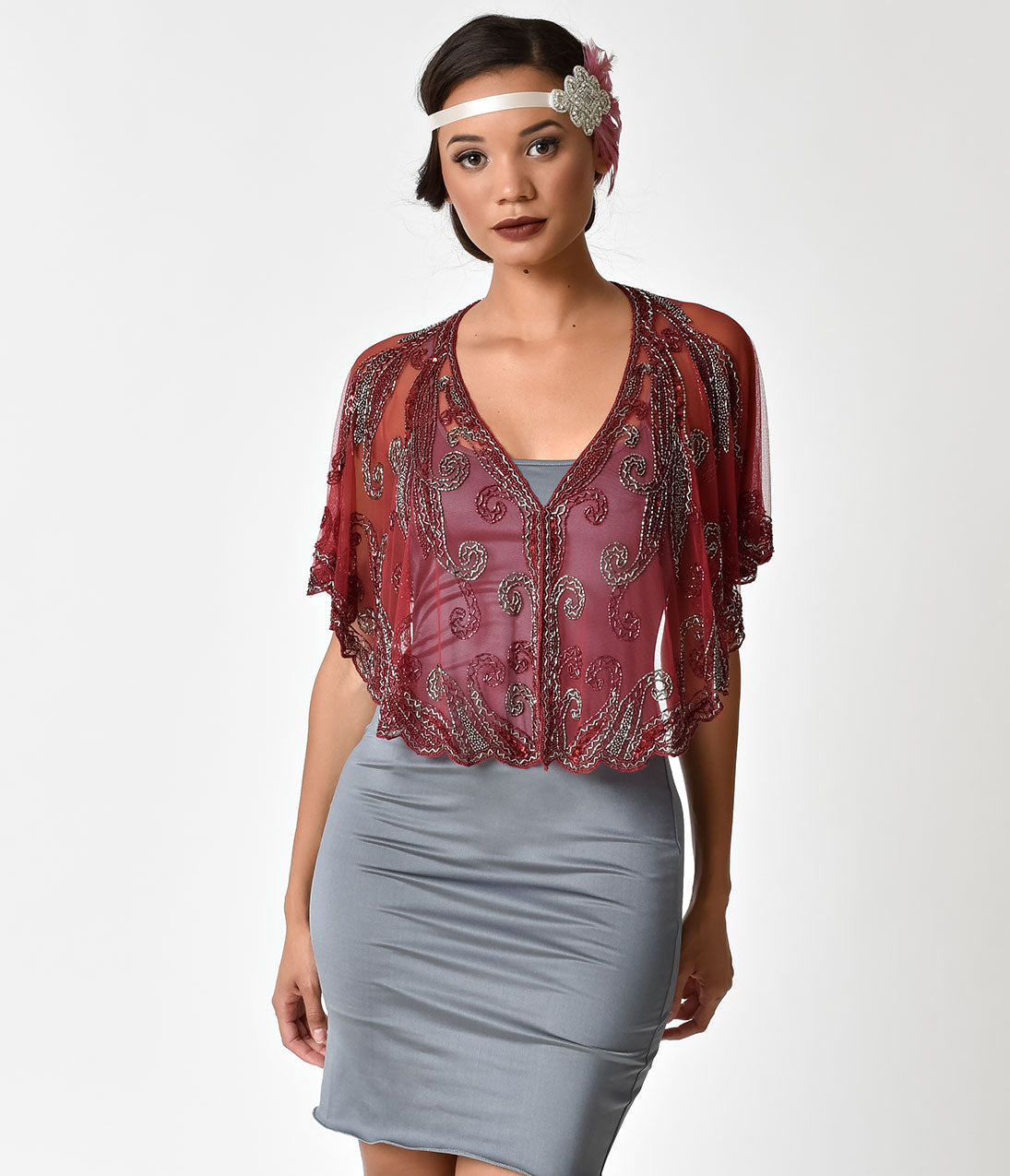 1920s Style Shawls, Wraps, Scarves 1920s Style Burgundy  Silver Beaded Sheer Mesh Capelet $46.00 AT vintagedancer.com