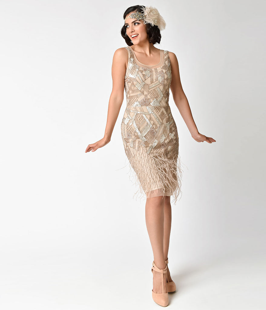 1920s Style Champagne Beaded Deco Feather Fringe Marilyn Flapper Dress