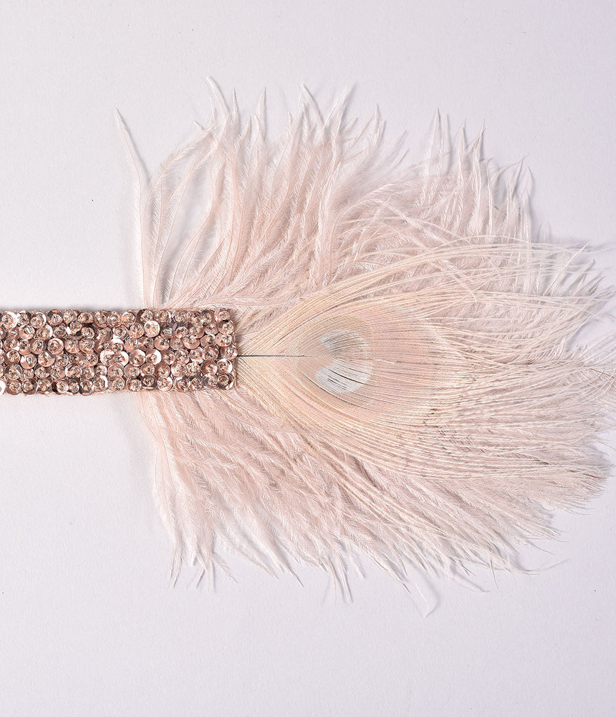 1920s Style Champagne Beaded & Peacock Feather Roxi Headband