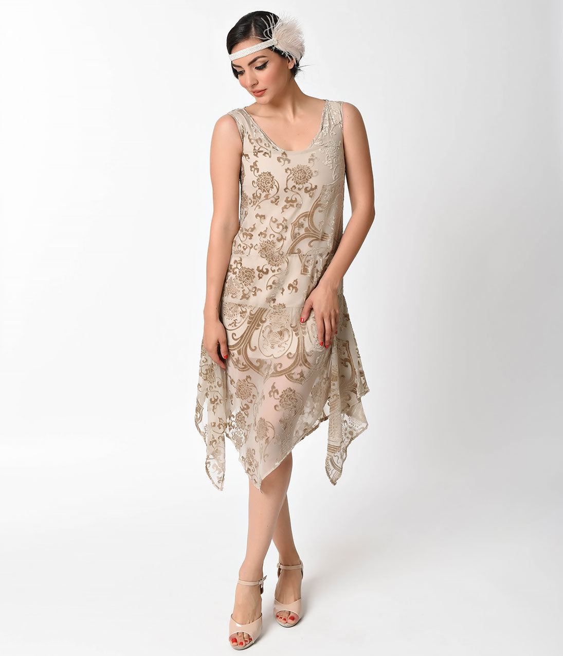 1920s Style Dresses, Flapper Dresses 1920s Style Champagne Burnout Velvet Flapper Dress $90.00 AT vintagedancer.com