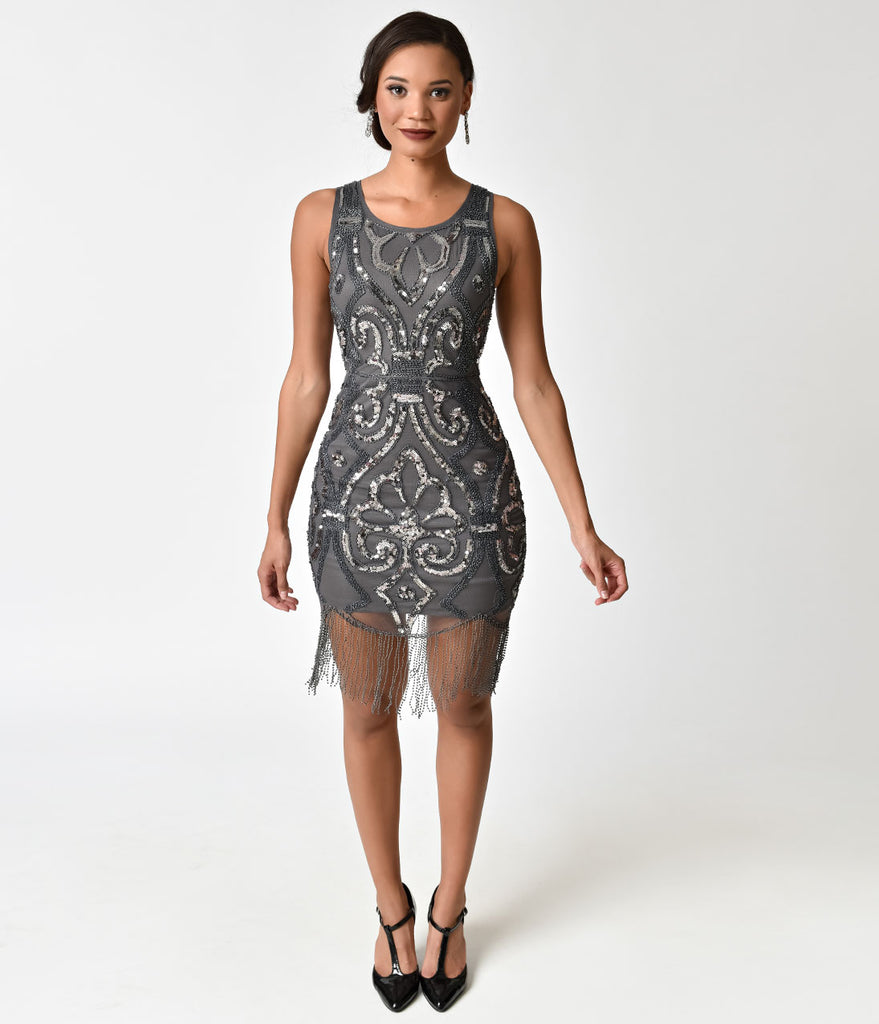 1920s Style Charcoal Grey Beaded & Silver Sequin Fringe Cocktail Dress