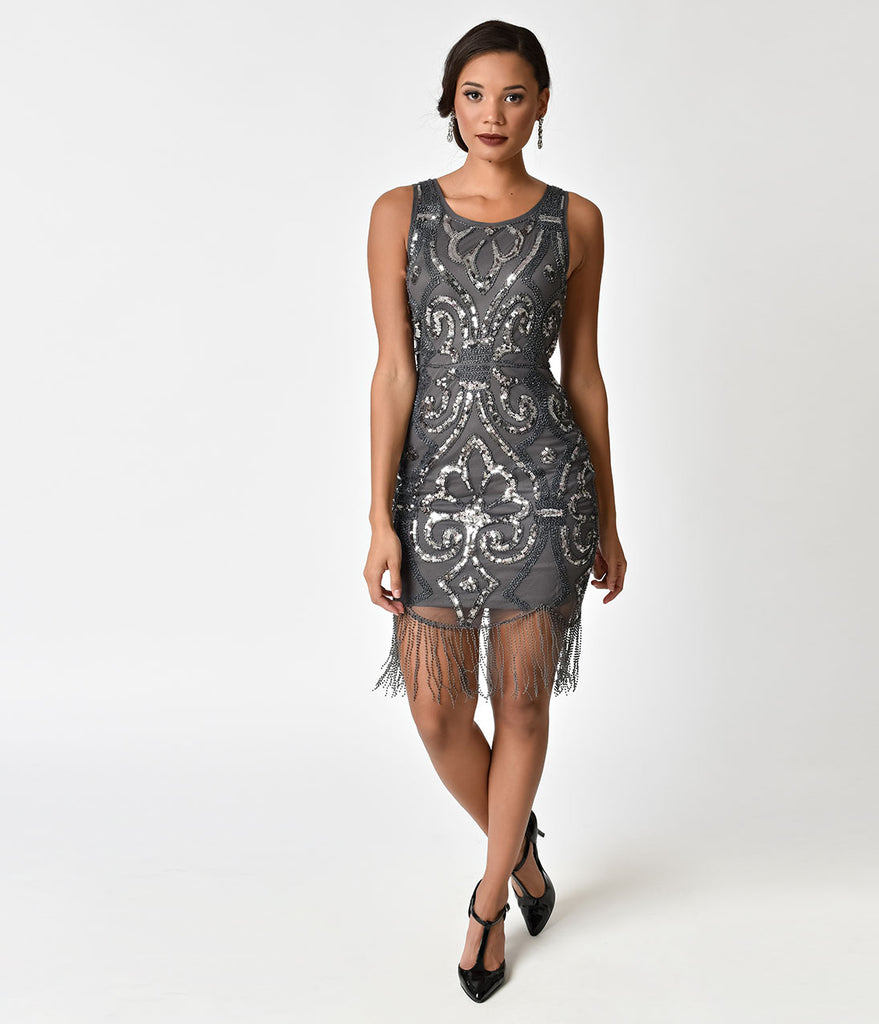 1920s Style Charcoal Grey Beaded & Silver Sequin Fringe Cocktail ...