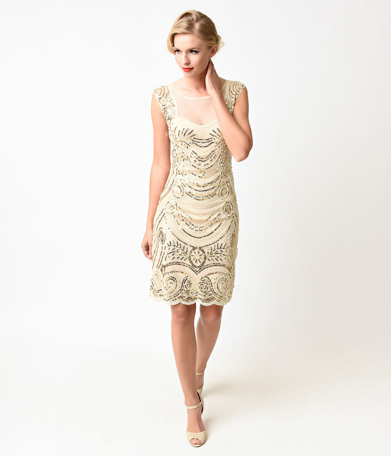 Unique Vintage 1920s Style Cream & Gold Beaded Deco Illusion Short Flapper Dress