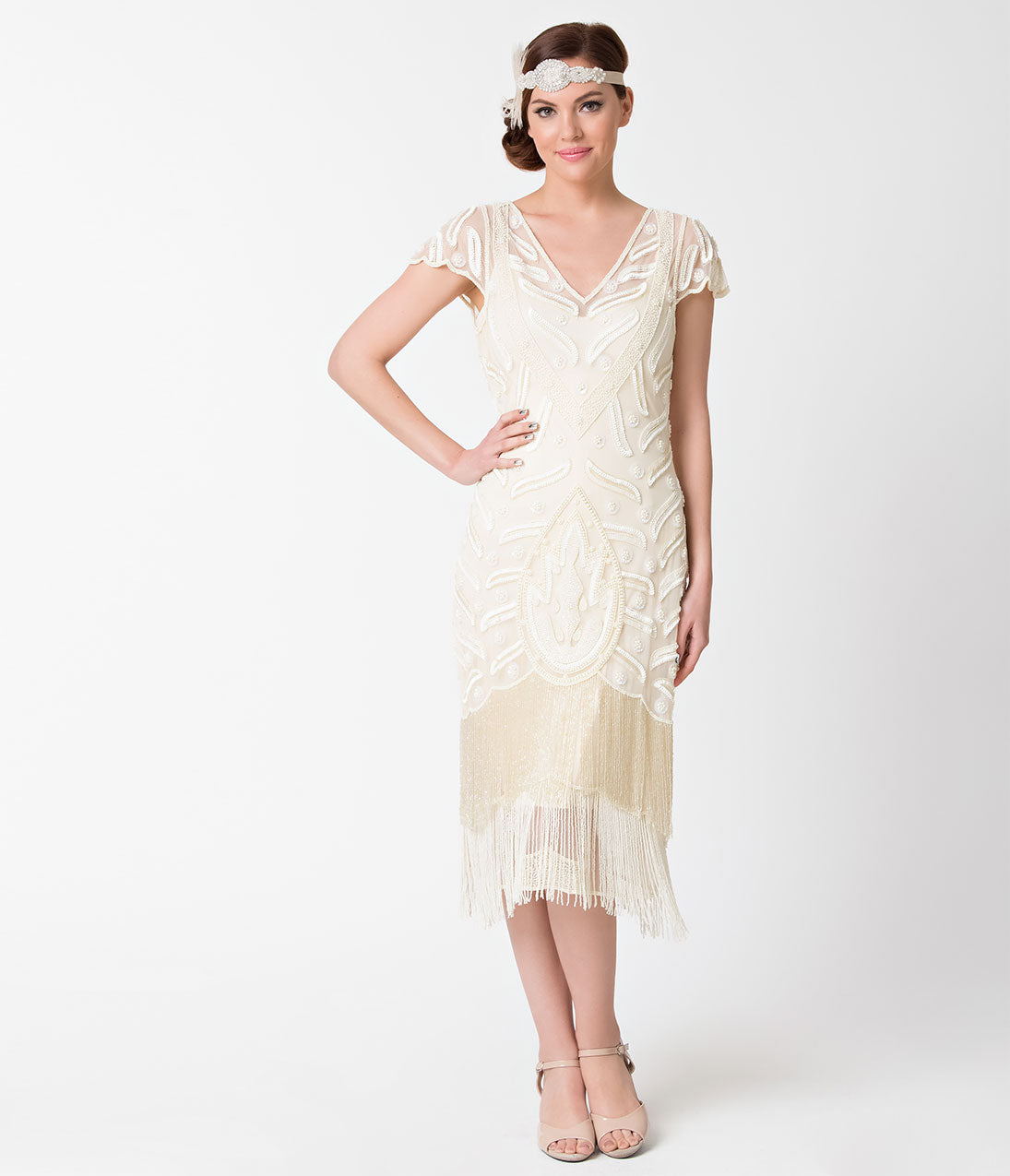 Vintage Inspired Wedding Dress | Vintage Style Wedding Dresses 1920s Style Cream Ivory Beaded Vegas Fringe Flapper Dress $166.00 AT vintagedancer.com