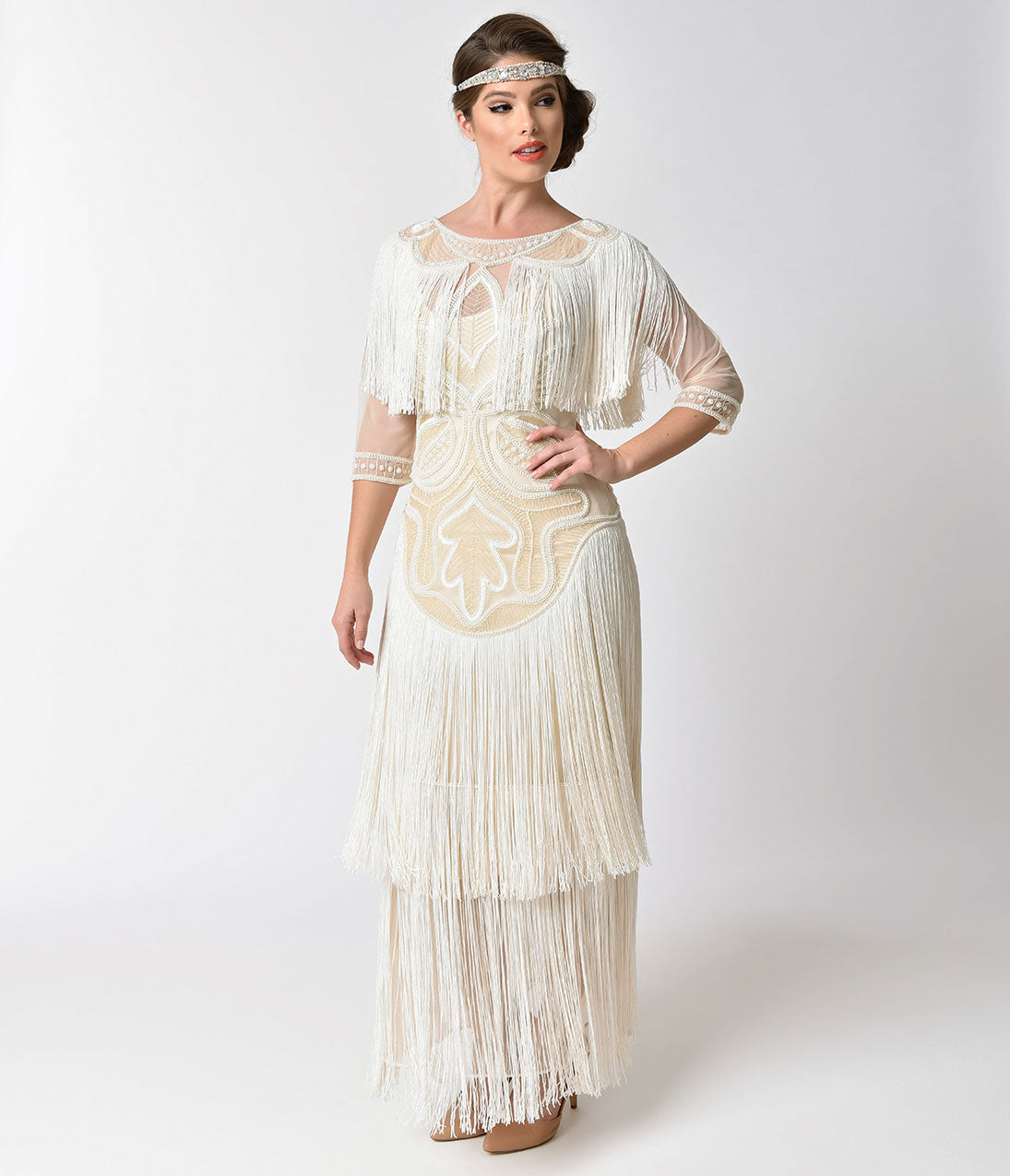 1920s Wedding Dresses- Art Deco Wedding Dress, Gatsby Wedding Dress 1920S Style Cream Pearl Beaded Mesh Glam Fringe Flapper Maxi Gown $152.00 AT vintagedancer.com