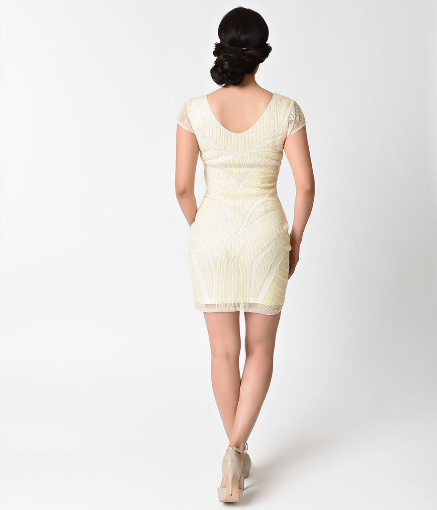 1920s Style Cream Sequin Cap Sleeve Short Flapper Dress