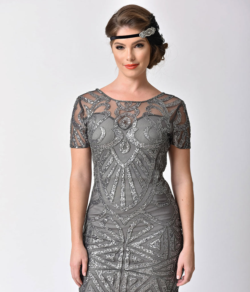 1920s Style Dark Grey Deco Sequin Beaded Flapper Short Dress
