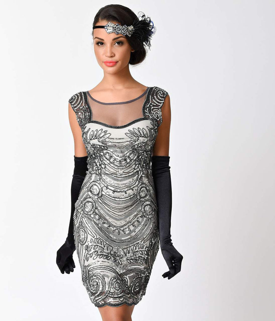 1920s Style Grey Beaded Deco Illusion Short Flapper Dress