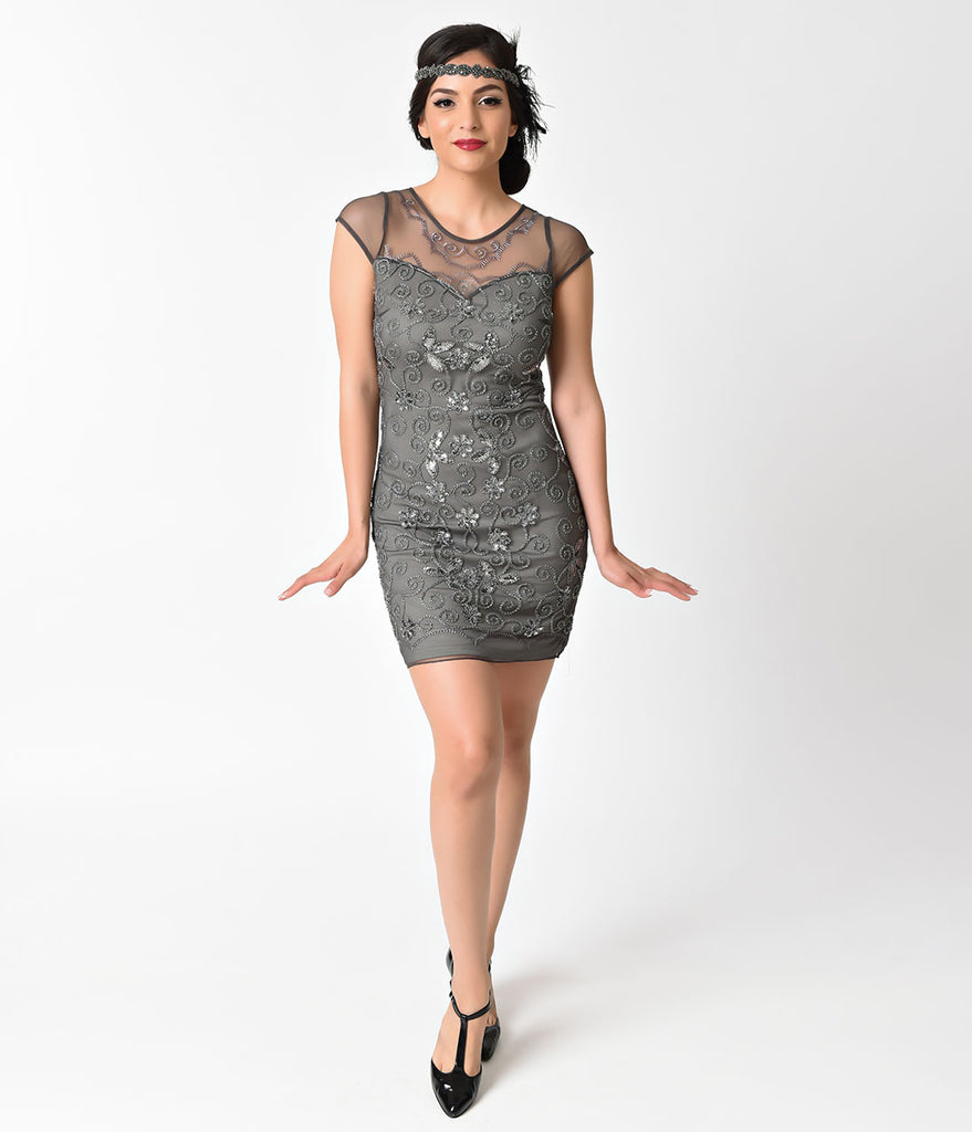 1920s Style Grey Beaded Floral Curl Mesh Short Flapper Dress