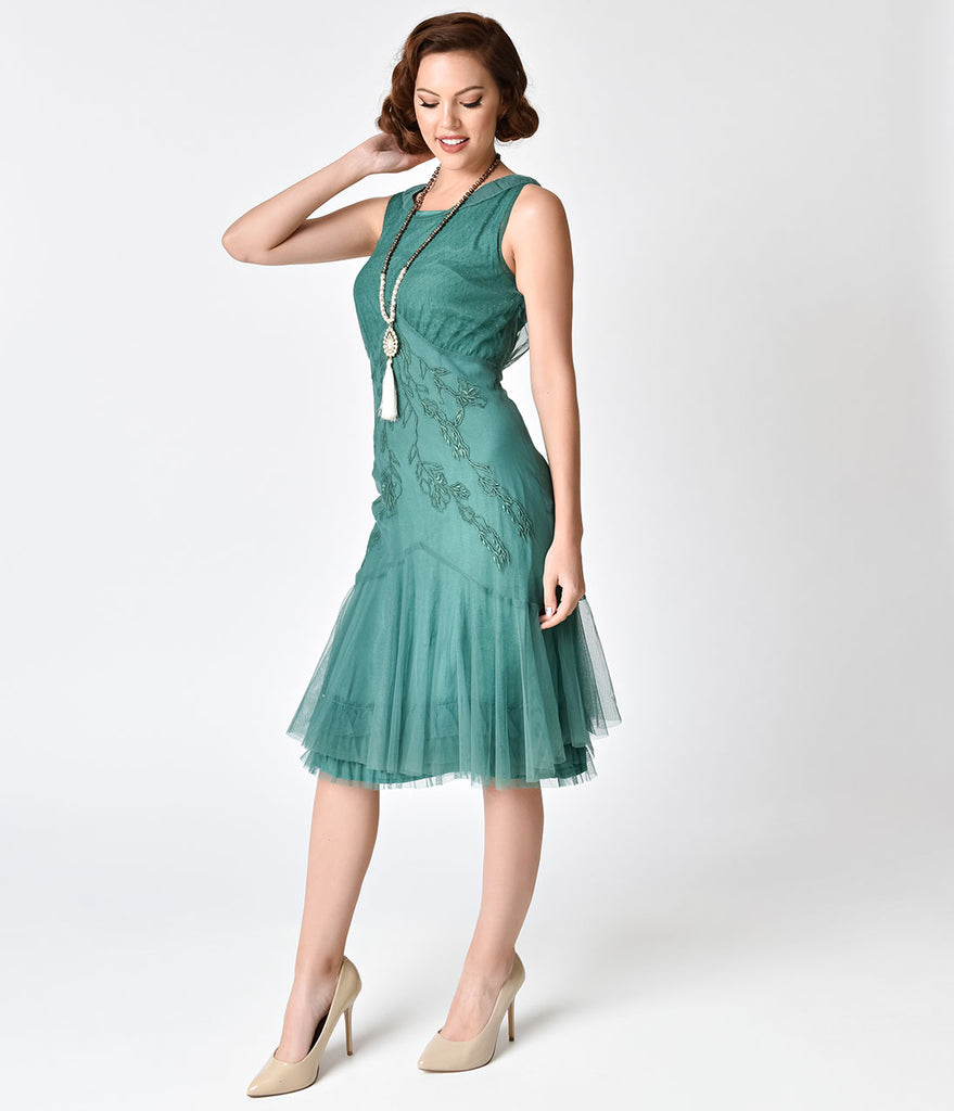1920s Style Hunter Green Embroidered Tatianna Flapper Dress