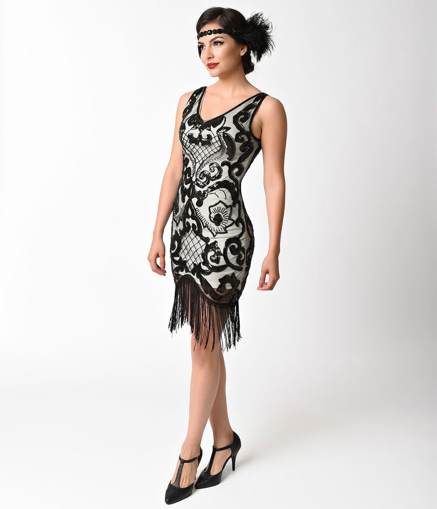 1920s Style Ivory & Black Sequin Mesh Fringe Flapper Dress