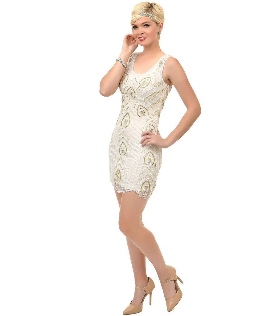 Frock and Frill 1920s Ivory & Gold Sequin Beaded Marion Flapper Short Dress