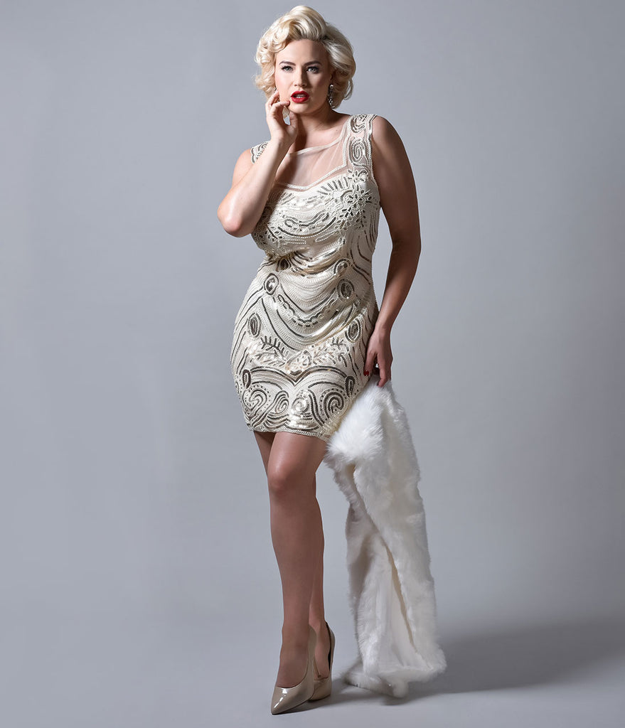 1920s Style Light Beige & Gold Beaded Illusion Cocktail Dress
