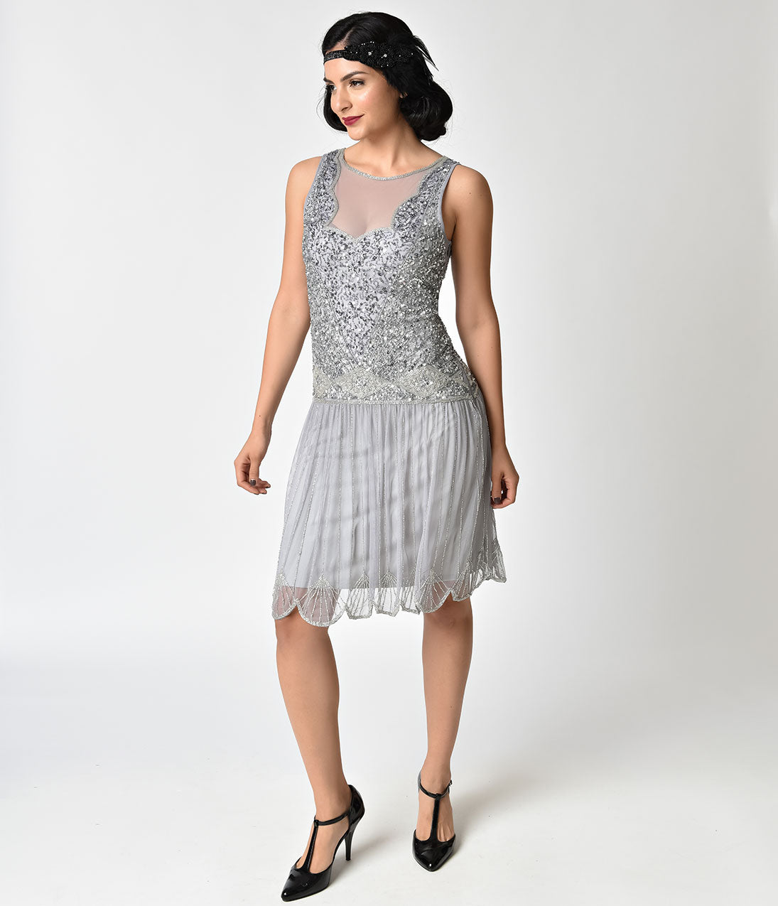 1920s Style Dresses, Flapper Dresses 1920s Style Lilac Beaded Drop Waist Elaina Flapper Dress $71.00 AT vintagedancer.com