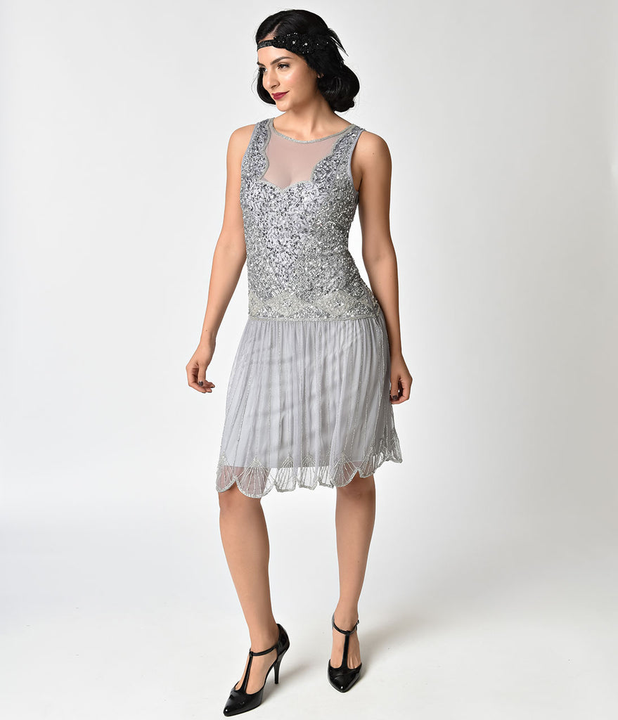 2e4f9abd 1920s Style Lilac Beaded Drop Waist Elaina Flapper Dress – Unique Vintage