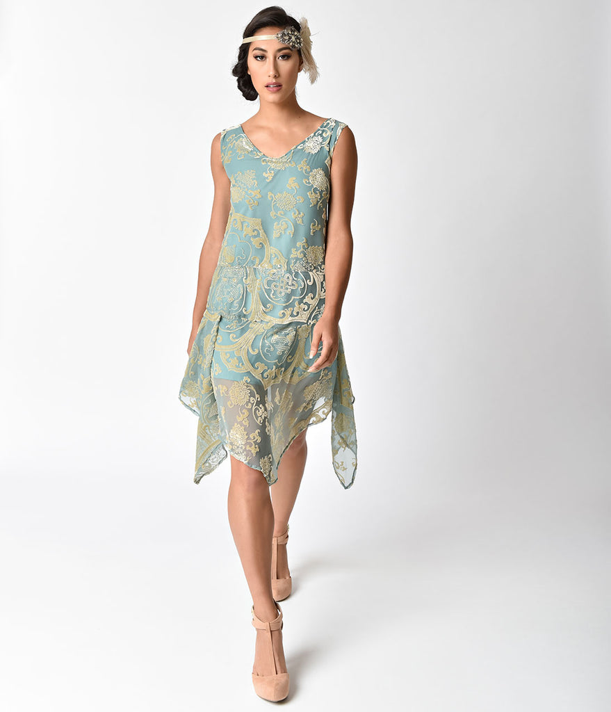 1920s Style Mint & Gold Burnout Velvet Flapper Dress
